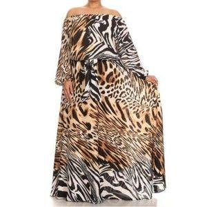 Dresses & Skirts - Plus Leopard Tiger Off Shoulder Chiffon Maxi Dress